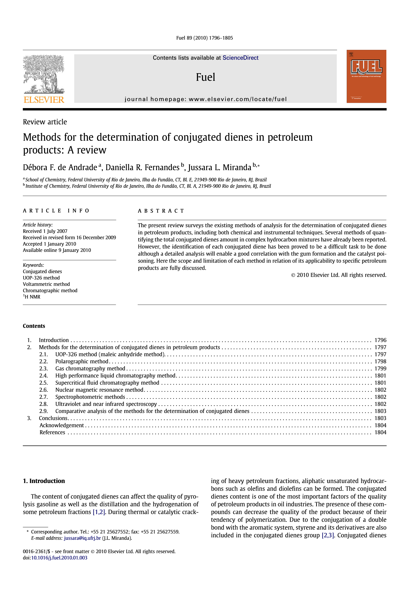 Methods For The Determination Of Conjugated Dienes In Petroleum Products A Review Fuel Onacademic